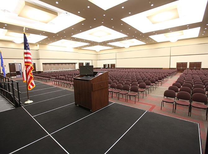 View from the stage in the Post Oak Room at the Owasso Conference Center