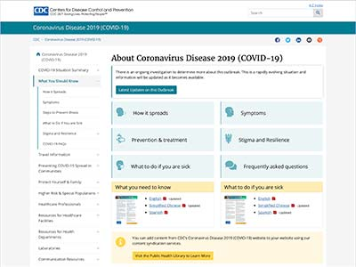Image of webpage on the CDC.gov website: About Coronavirus Disease 2019 (COVID-19)