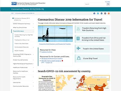 Screenshot of the Centers for Disease Control Website