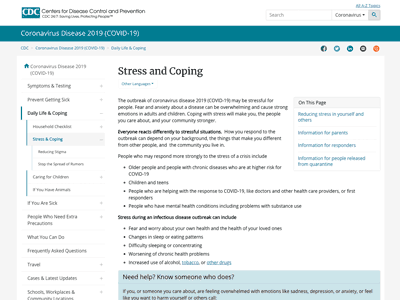 Screenshot of Centers for Disease Control Website | Stress and Coping