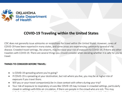Screenshot of Oklahoma State Department of Health COVID-19 Traveling within the United States webpage.