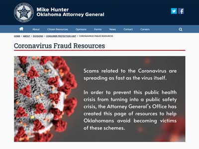 Image of the Oklahoma Attorney General's website