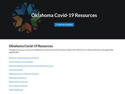 Screenshot of Oklahoma.gov COVID-19 Resources Website